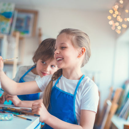 Little painters in studio